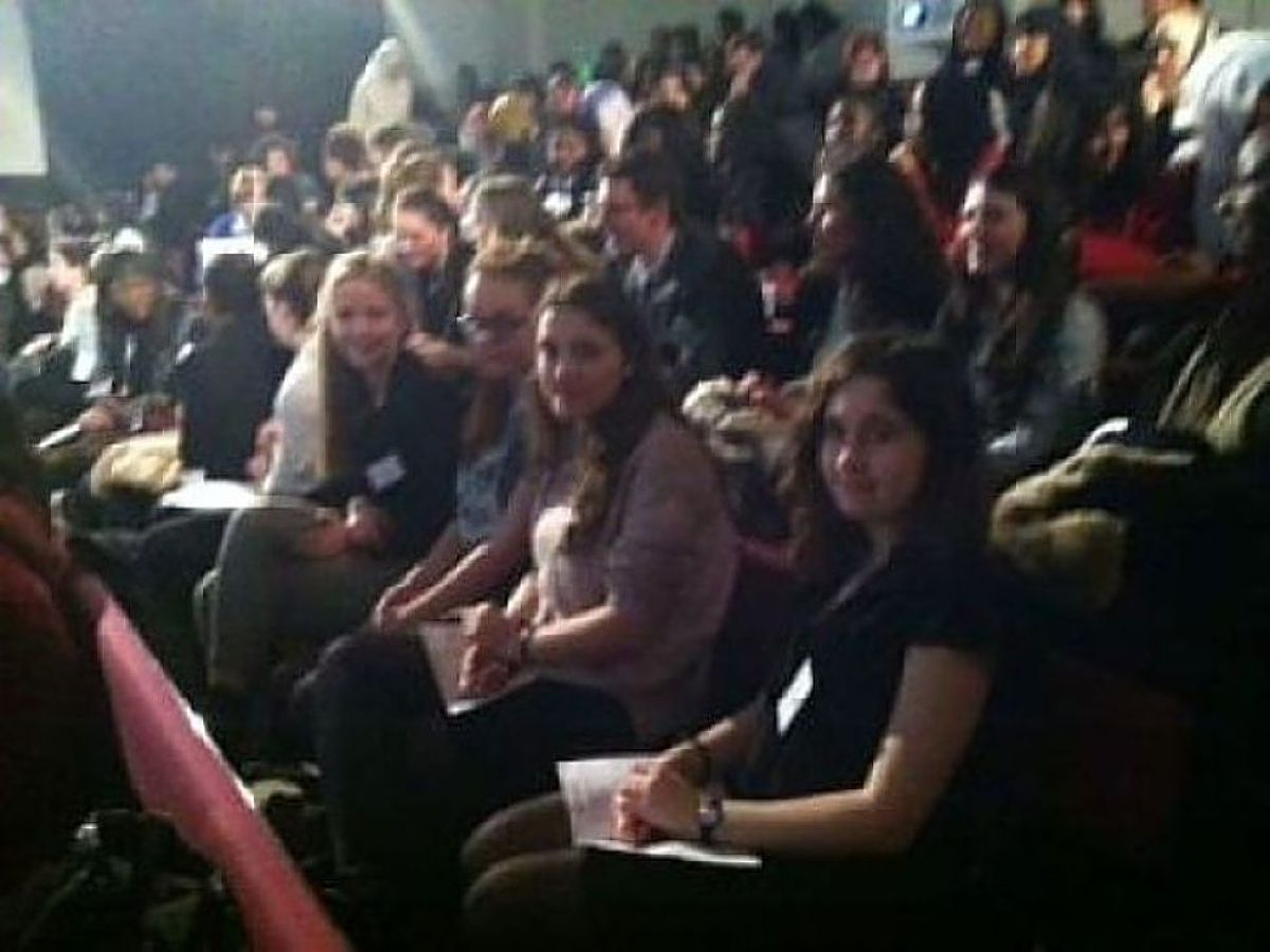 At the conference. From the left facing the camera: Grace, Sophie, Eloise and Katie