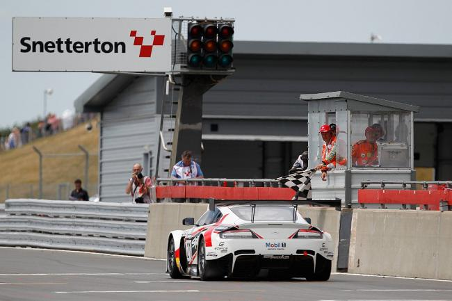 Chequered flag: Strata 21's Paul White gets his Aston Martin Vantage GT3 over the line in third last week