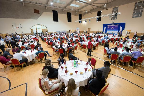 Hundreds gather for Ramadan meal at The Baitul Futuh Mosque