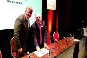 Gatwick chief executive Stewart Wingate signing the memorandum of understanding with Croydon Council leader Councillor Tony Newman