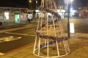 Is this a Christmas tree fail or a triumph of festive art? Pic: Olivia Mace