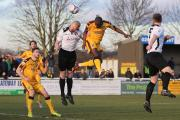 Heads up: Bedsente Gomis opens the scoring against Ebbsfleet on Saturday    Pictures: Paul Loughlin