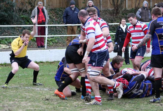 In there somewhere: Hugo Ellis gets over the line to add another five points to Park's tally                Pictures: David Whittam