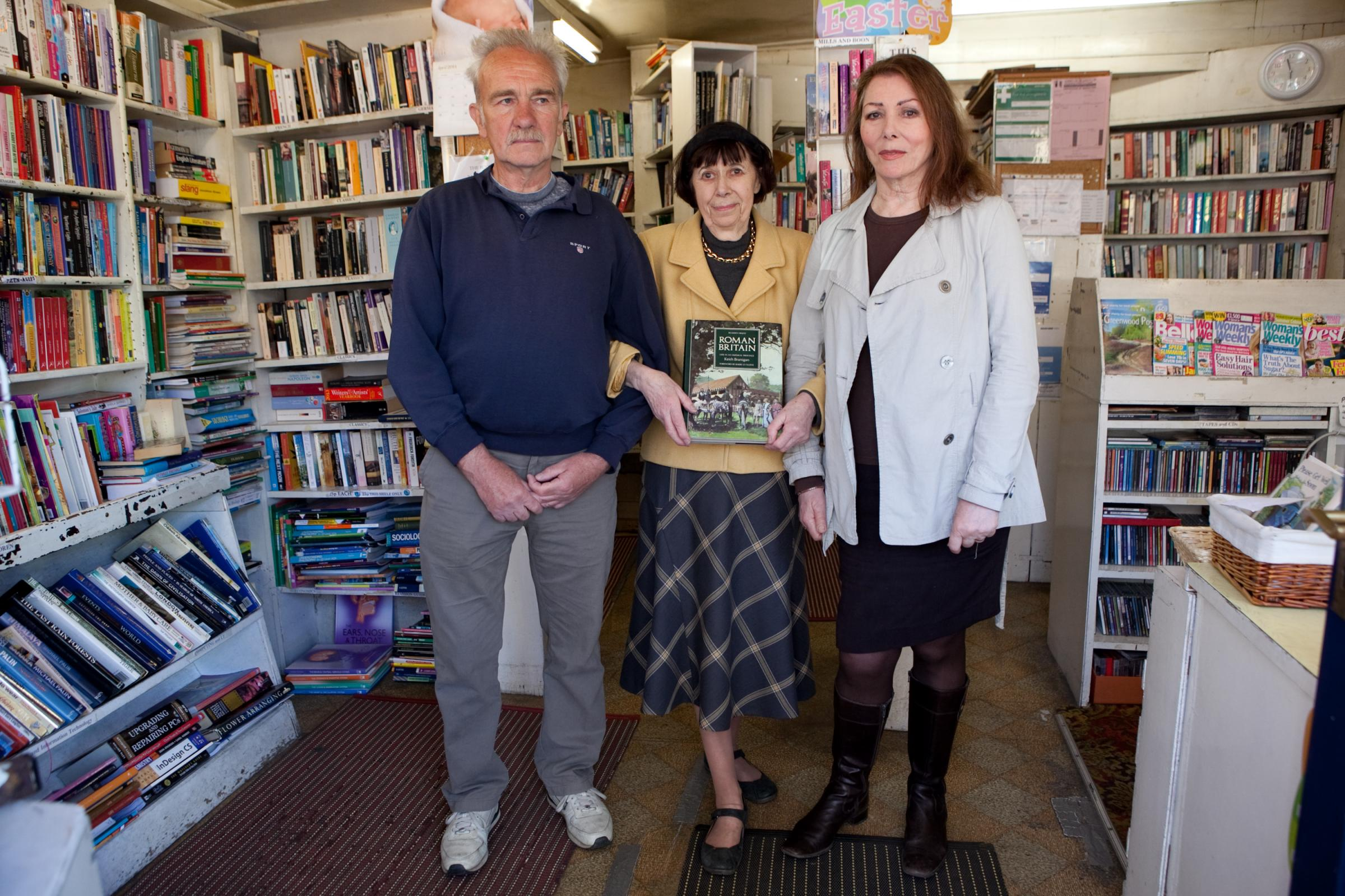 Happier times ahead: Ray Brown, Joy Mckie who has run the shop for 16 years and Actress Julie Bevan