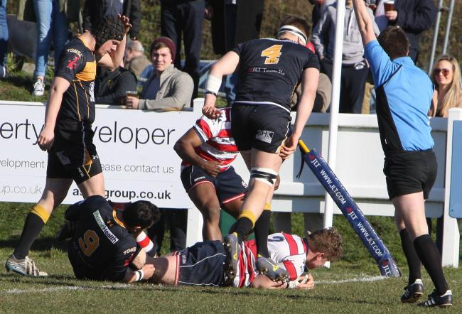 Comfortable: Tom Woolstencroft scores Rosslyn Park's first try in a straight-forward derby win at Esher              All pictures: David Whittam