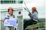 Brave woman abseils down a racecourse in memory of grandfather