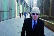 Edwin Mee leaving Southwark Crown Court after the first day of his first trial