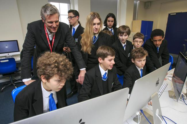 Going strong: Zac Goldsmith visits Richmond Park Academy earlier this year