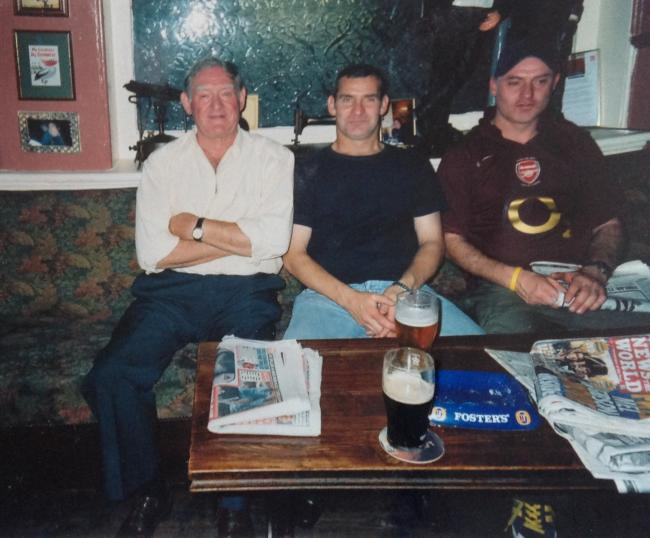 Remembered: Philip Westnott (far right) with father Michael and brother Steven at The Kilkenny Tavern in south Wimbledon
