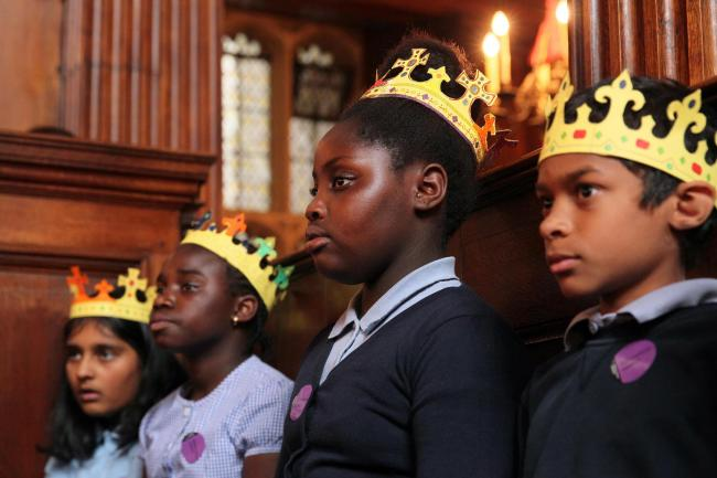 Singing kings: Children from Monks Orchard School in Croydon
