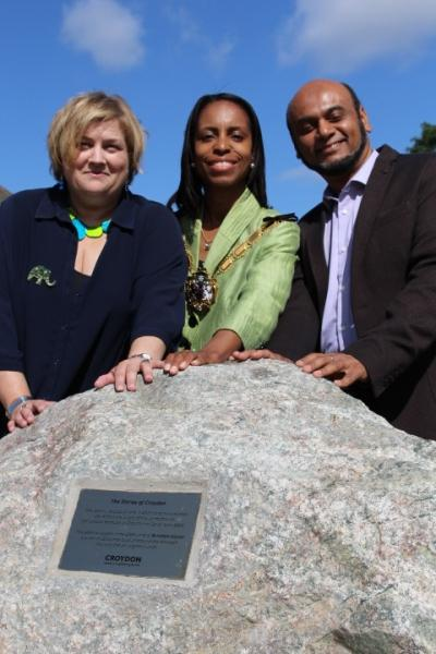 Coun Alison Butler, deputy leader, Mayor Patricia Hay-Justice, Coun Humayun Kabir, for Bensham Manor, unveiled the Bensham Manor commemorative stone in Trumble Gardens on Tuesday