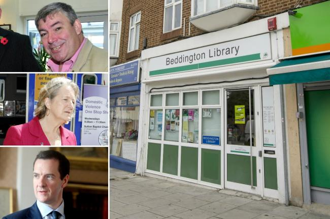 Cuts: Beddington library is for the chop. Top to bottom: Tim Crowley, Ruth Dombey and George Osborne
