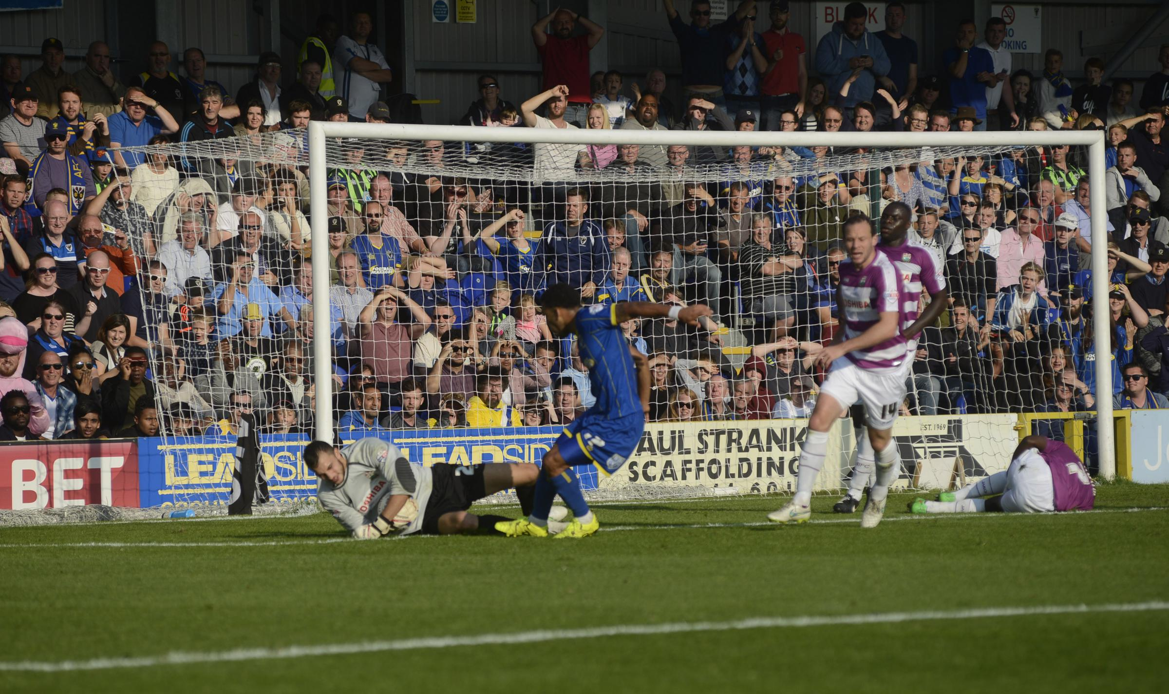 Chance: Andy Barcham goes close in AFC Wimbledon's 2-0 win over Barnet on Saturday              Picture: Gareth Harmer