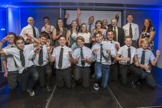 Winners: Sutton & Epsom RFC, with Sam Phillips (back row, second from right) were named sports club of the year at the Epsom & Ewell Sports Awards on Tuesday night                All pictures: SP93670