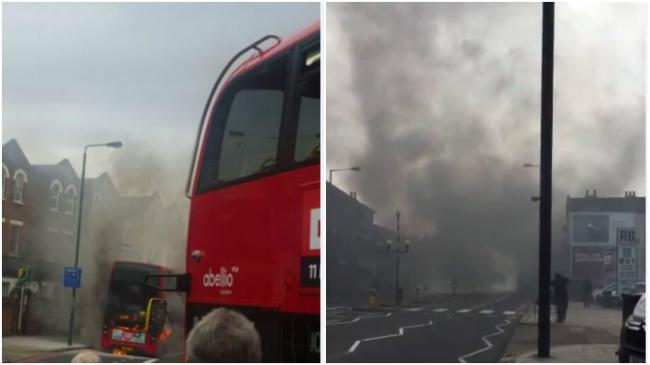 Norbury bus fire: Thick black smoke could be seen in London Road. Photos: Mia Barton