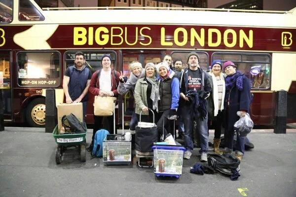Anthony Burdett (far left) with volunteers from the Big Warm Up project who hand out essential items to homeless people in London