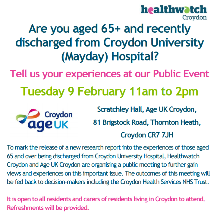 Over 65s Hospital Discharge Experience Public Meeting