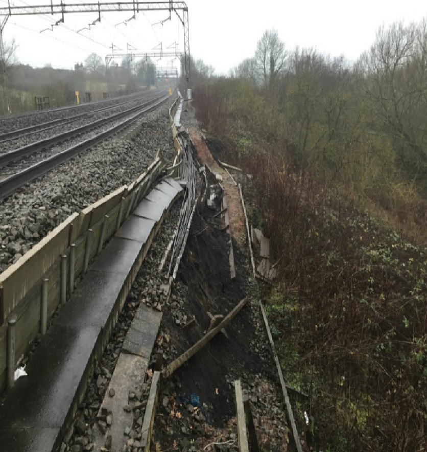 The landslide damage (picture taken by Network Rail)