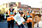 Junior doctors protest outside St George's Hospital in Tooting and health secretary Jeremy Hunt (inset)