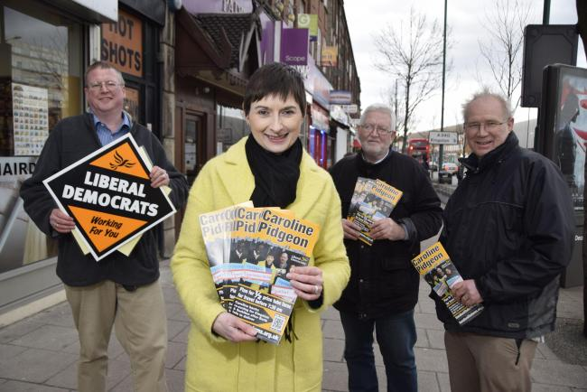 Caroline Pidgeon was campaigning in Tolworth on Monday