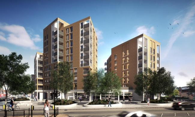 The £28m regeneration of the area will replace the long-derelict flats with three shops and 90 apartments
