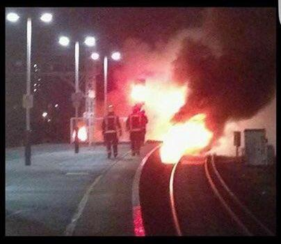 Emergency services battle the fire at Vauxhall station yesterday morning (Pic: DriverPotter)