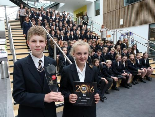 Stanley Park pupils Herbie, 12, and Evie, 13, with the school's award