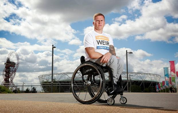 Man on a mission: David Weir finished third in Saturday's T54 1,500m at the Muller London Anniversary Games