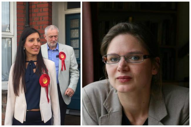 Left, Labour leader Jeremy Corbyn pictured with Tooting MP Rosena Allin-Khan and right, Labour councillor for Teddington ward, Jennifer Churchill