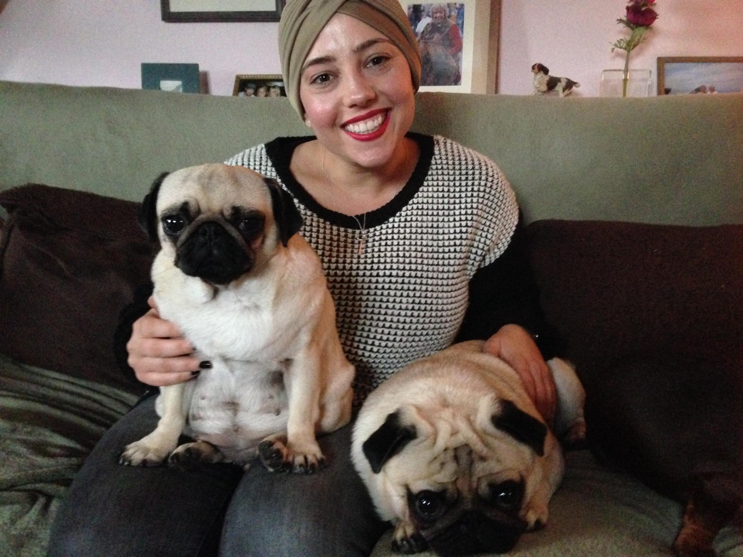 Hannah Boniface with her pugs Pippa and Erol