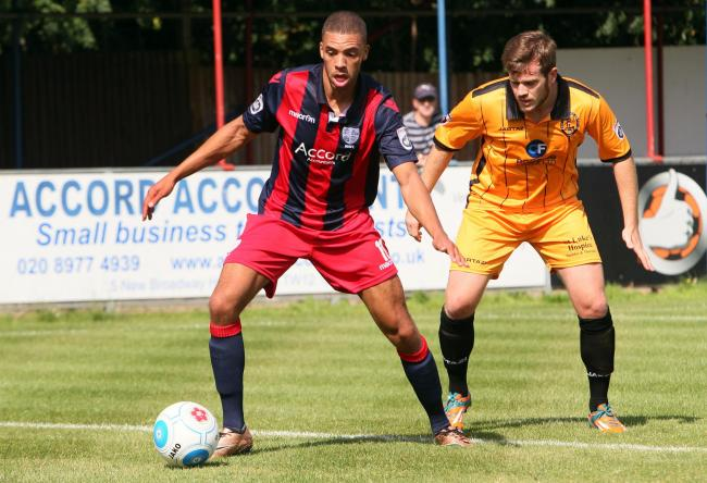 Dazed: Christian Jolley took a ball in the face to give Hampton the lead agaisnt Dartford on Saturday