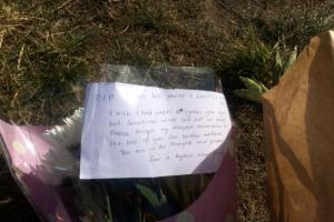 Floral tributes left at the riverside where Dominick died