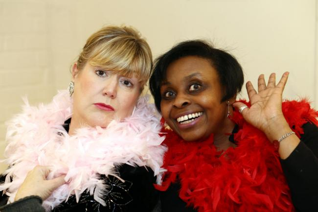 Debra Shepherd, left, and Meta Thomas in Swan Songs at CornerHOUSE
