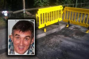 Ralph Brazier (inset) died after hitting the pothole at the junction of Hamm Court and