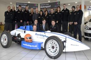 The team with the car at Brooklands College