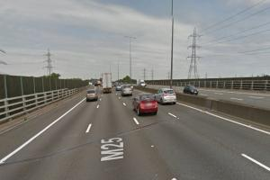 The bridge on the M25 between Cobham and Chertsey is being repaired overnight (pic: Google Maps)