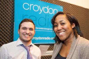 Former Croydon Guardian reporters Andy Bloss and Hannah Williamson at Croydon Radio