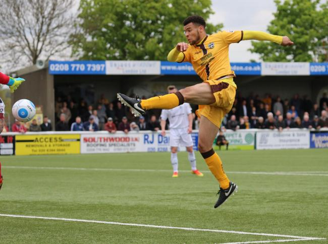 Maxime Biamou, seen here scoring for Sutton United against Gateshead, has signed for Coventry City. Picture: Paul Loughlin