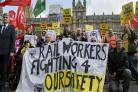 Rail workers stage Parliament protest over driver-only trains