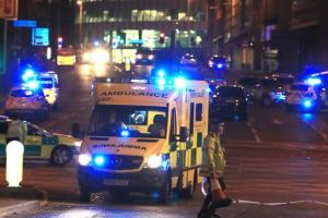 Emergency service vehicles near the Manchester Arena. Pic credit: PA/Wire