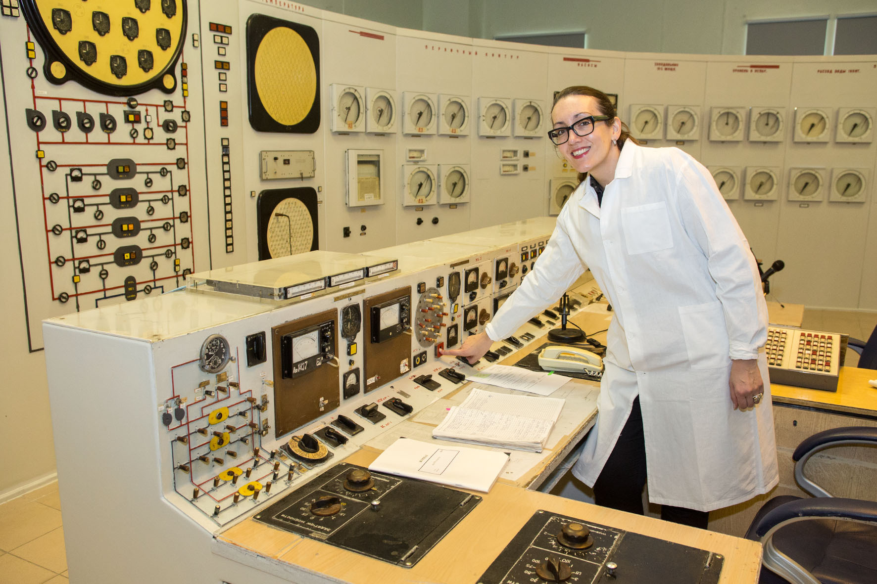 Kingston University researcher Russia Dr Egle Rindzeviciute examines a control room inside the Obninsk Nuclear Power Plant
