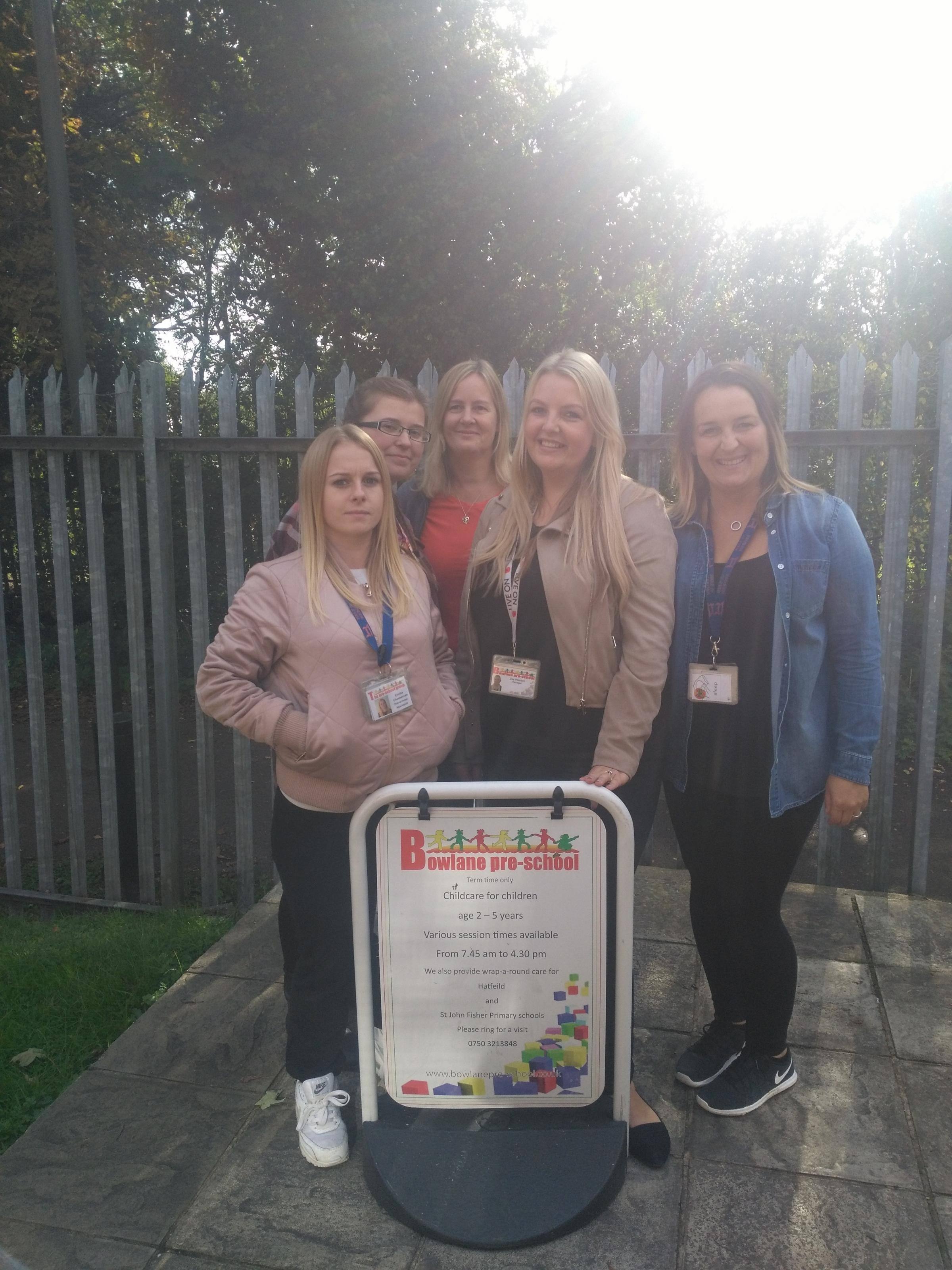 Staff at the 'outstanding' pre-school: (from left to right) Emma Cheesman, Chloe Barclay, Janet Rolfe, Zoe Pearson and Stacey Perry