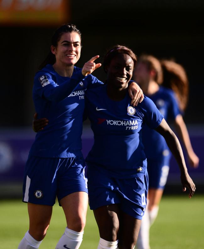 Karen Carney and Eniola Aluko celebrates a goal against Yeovil Town