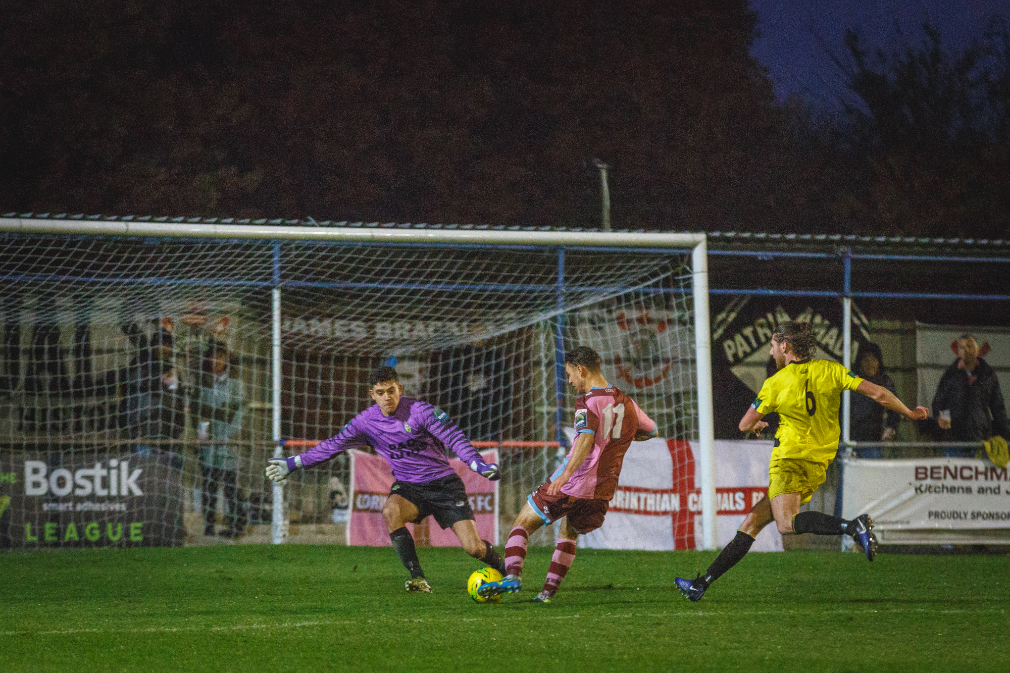 Max Oldham hits the target for Corinthian-Casuals against Ashford United on Saturday. Picture: Stuart Tree