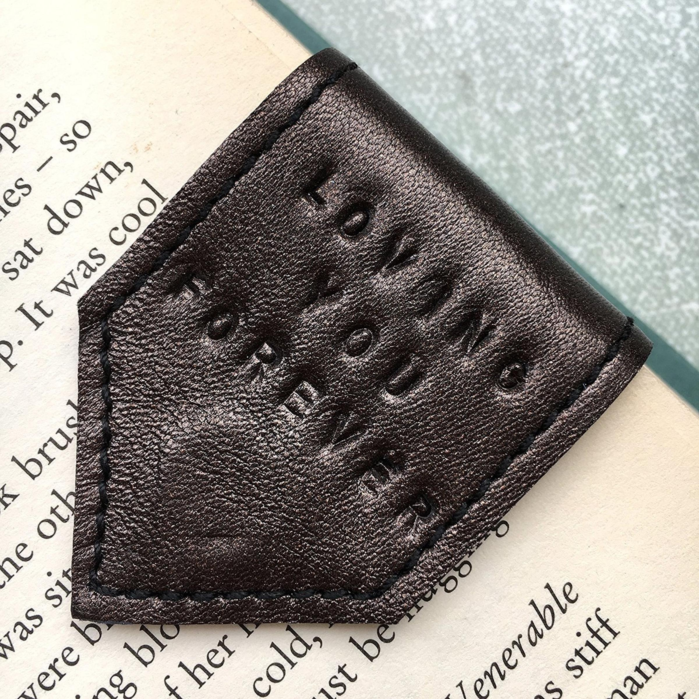 Handmade at Amazon Leather Bookmark – Personalised by Law, £14
