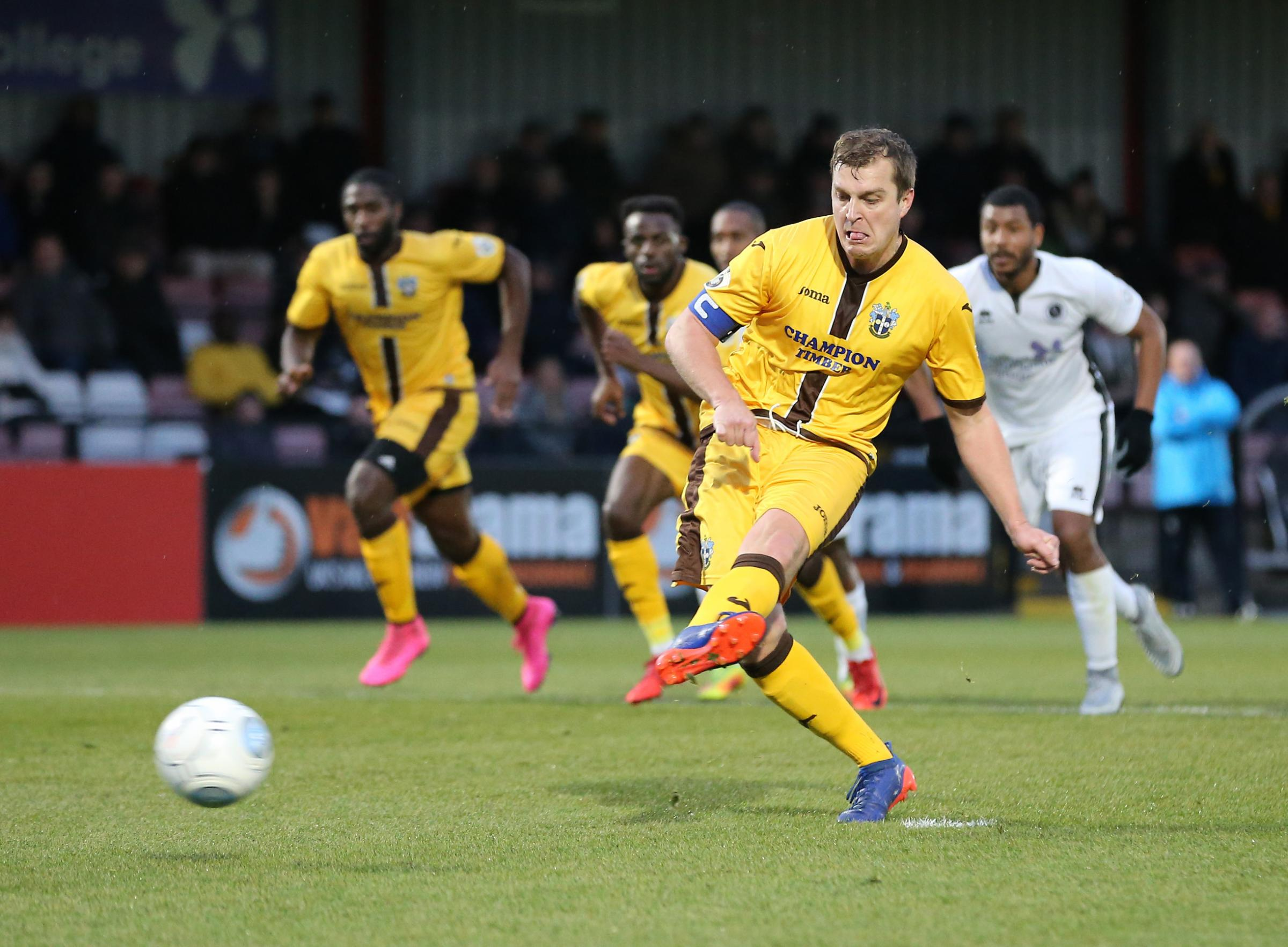 Sutton United captain scored from the penalty spot in the 1-1 draw with Boreham Wood on New Year's Day. Picture: Paul Loughlin