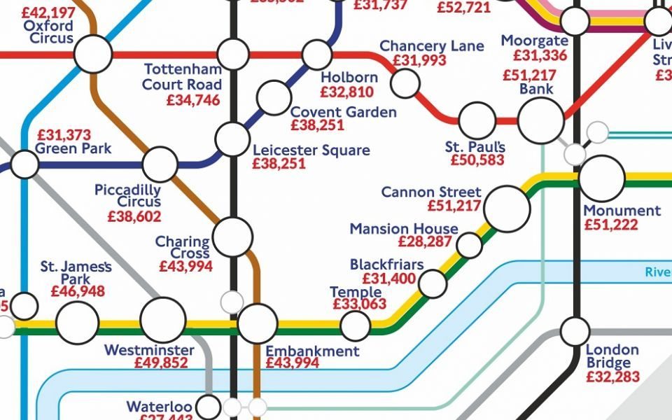 Can you guess which tube stop offers the best salary?