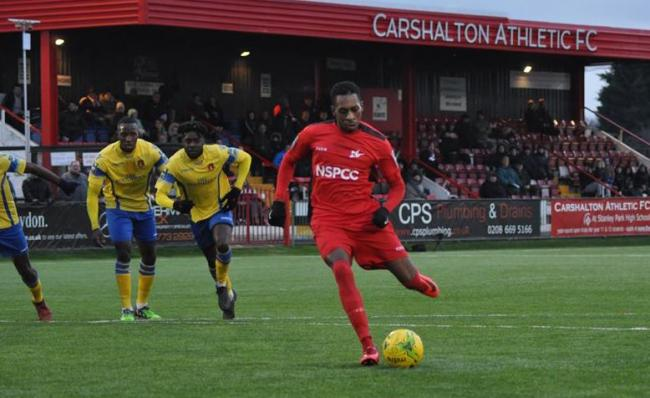 Mickel Miller keeps his cool to score from the penalty spot as Carshalton Athletic beat Sittingbourne. Picture: Ian Gerrard
