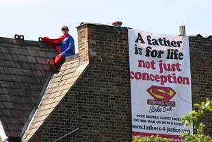 The Fathers 4 Justice protest on Harriet Harman's roof in June