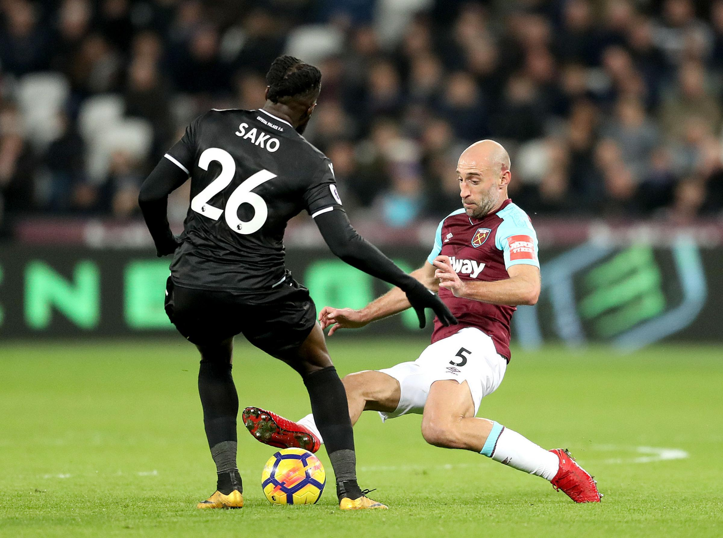 Bakary Sako with West Ham's Pablo Zabaleta. Photo: Adam Davy/PA Wire